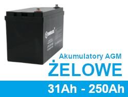 Akumulatory żelowe, agm 31Ah - 250Ah